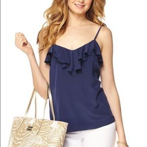 Lilly Pulitzer navy silk tank with ruffle